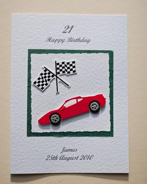 Sports Car And Flag 21st Birthday Card Front