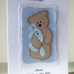 Teddy and Blue Rabbit - New Baby Card Angle - Ref P199